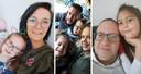 Van links naar rechts: Nicki Geerts (25), Massimo Rasano (35), Johan Vandepoel (45) en hun gezin.