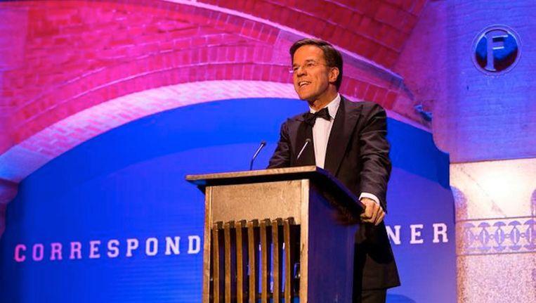 Premier Mark Rutte tijdens het eerste Correspondents' Dinner. Beeld ANP