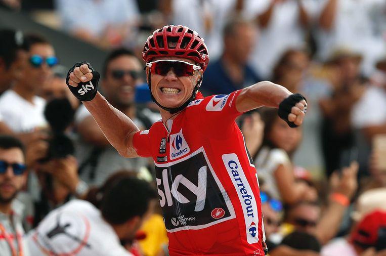 Chris Froome in de Vuelta van 2017, die hij ook won.