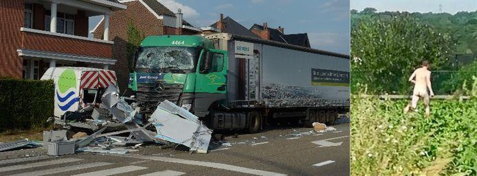Na de ravage vluchtte de Poolse trucker naakt een bietenveld in.