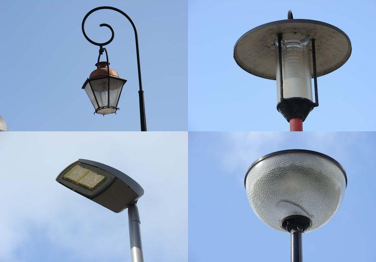 Heel wat diversiteit in de openbare verlichting in de Bakkerstraat: vier verschillende soorten lantaarns staan daar netjes naast elkaar.