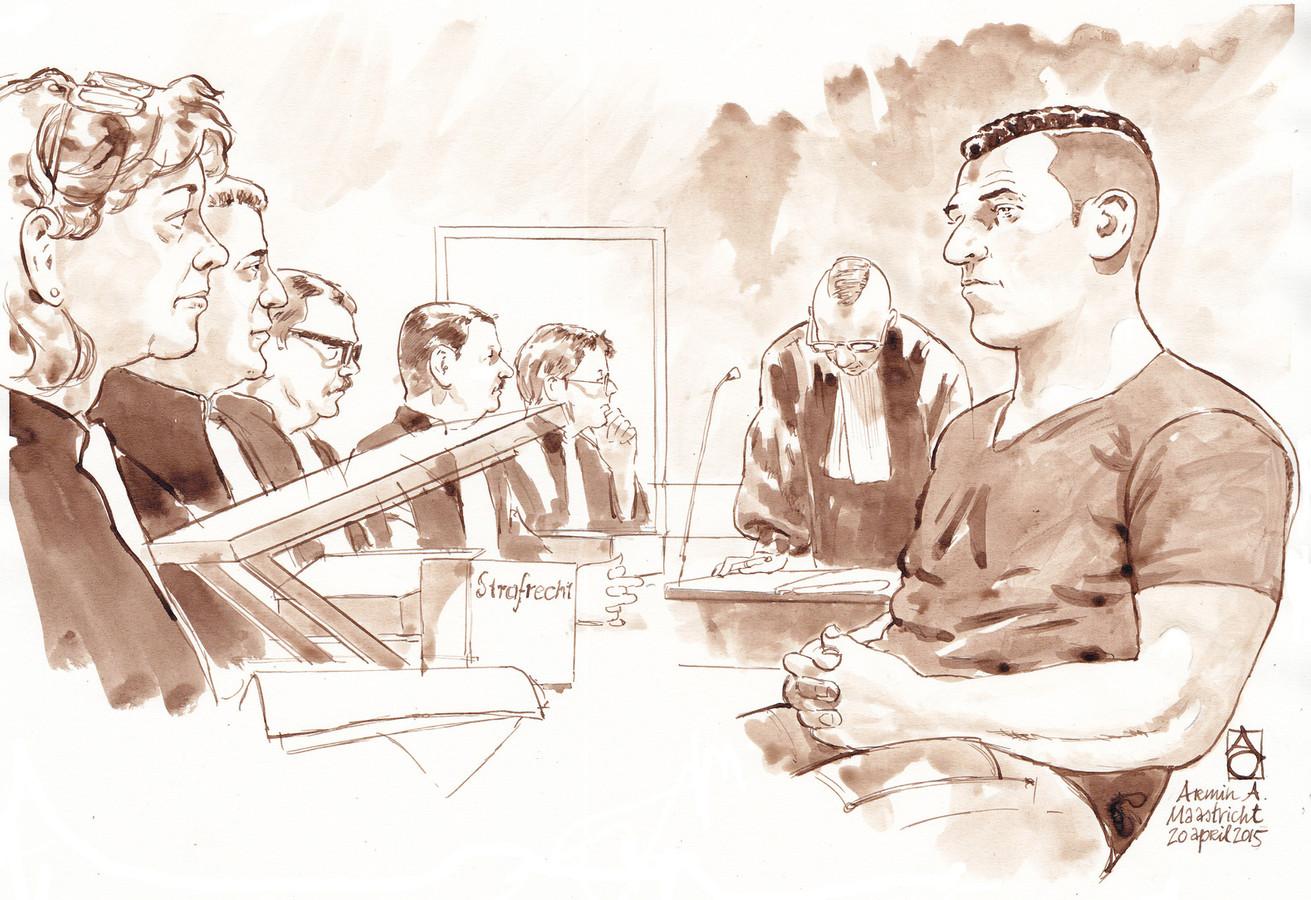 Rechtbanktekening van de regiezitting van verdachte Armin A.(rechts).