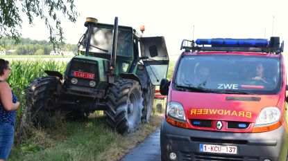 Boer stopt omwille van lekke band  en ontdekt brand aan tractor