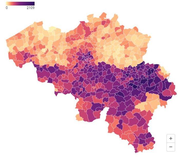 Sur cette carte du taux d'incidence (du plus clair/bas au plus foncé/élevé), on remarque la différence entre régions et provinces: la Wallonie, et en particulier Liège, sont très touchés dans cett 2e vague