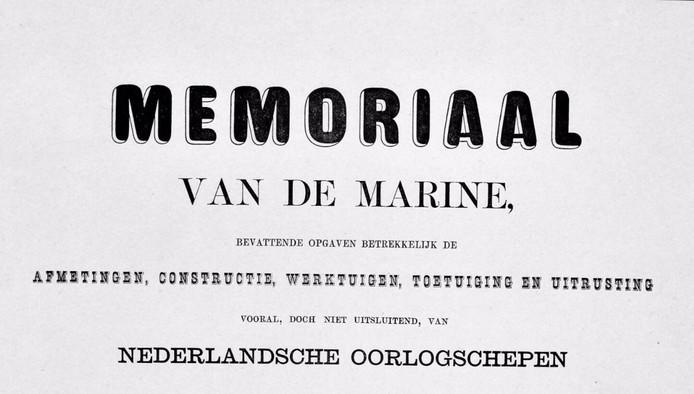 Het titelblad van het Memoriaal van de Marine.