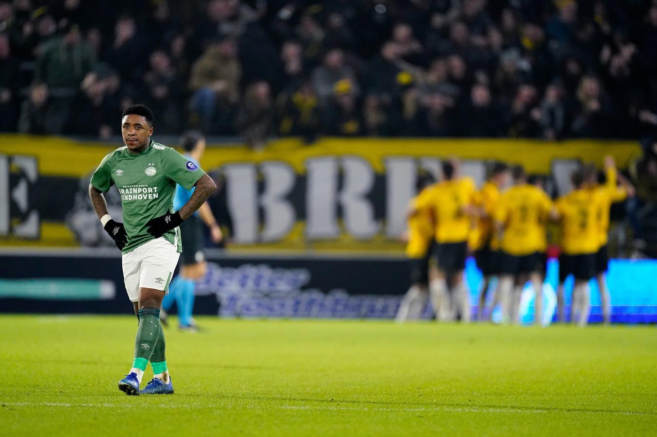 Steven Bergwijn in zijn vermoedelijk laatste wedstrijd voor PSV : NAC-uit voor de beker. PSV verloor in Breda met 2-0.