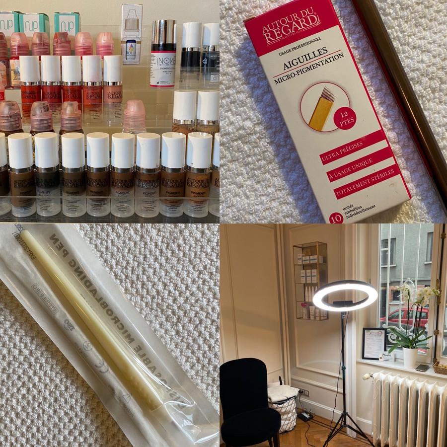 """Microblading au salon Ayanna Beyond Beauty par """"LouiseG Dermo"""": choix des couleurs et matériel individuel"""
