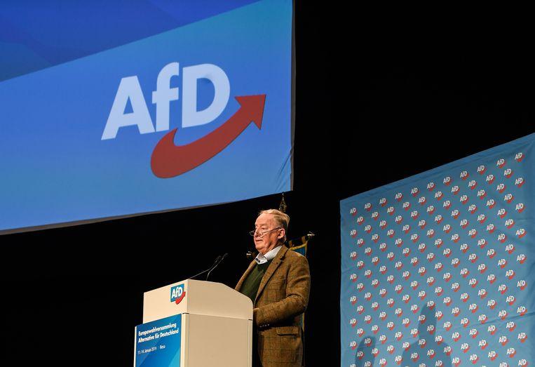 AfD-voorzitter Alexander Gauland op het congres van de partij.