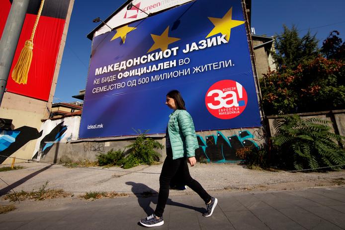 Een verkiezingsposter in Skopje vóór aansluiting bij de EU.