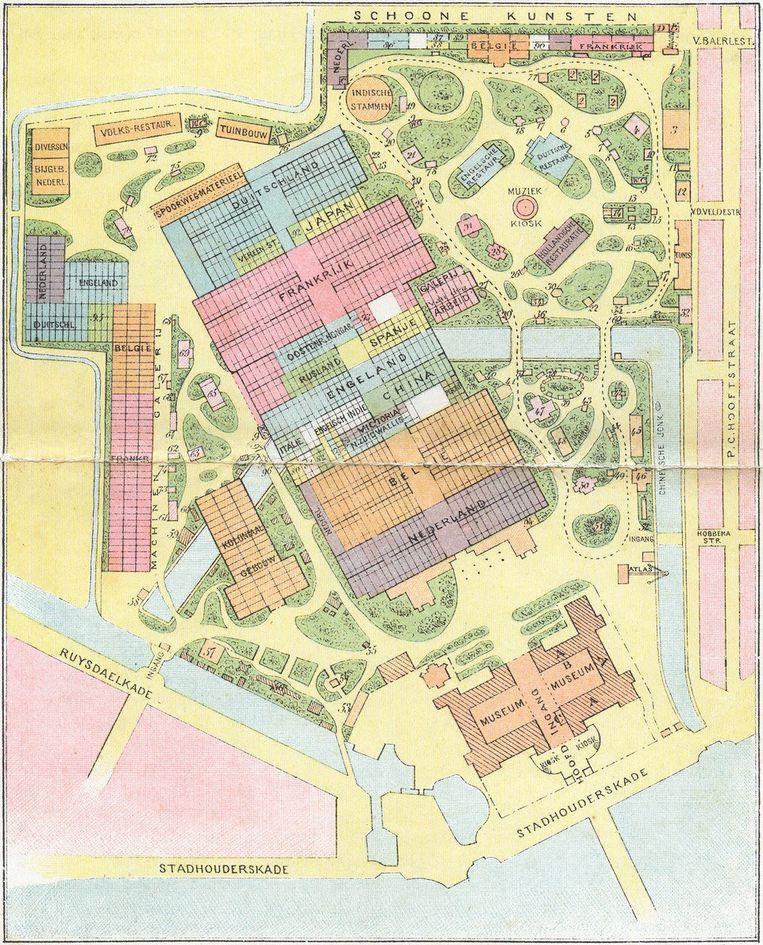 De plattegrond van de in 1883 gehouden Internationale Koloniale en Uitvoerhandel Tentoonstelling Beeld Timo Demollin