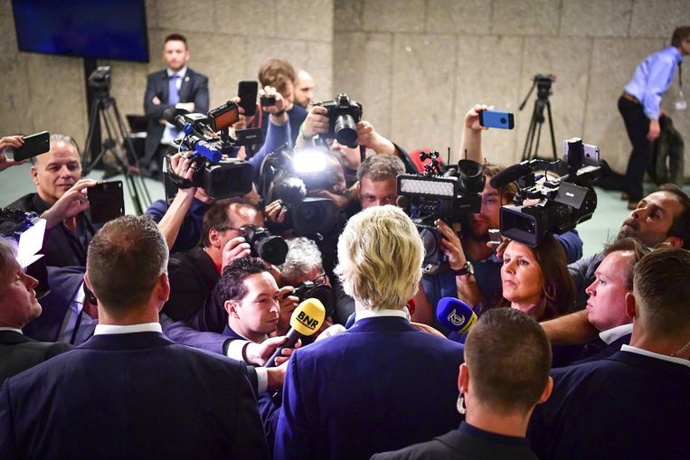 Wilders staat pers te woord. Beeld anp