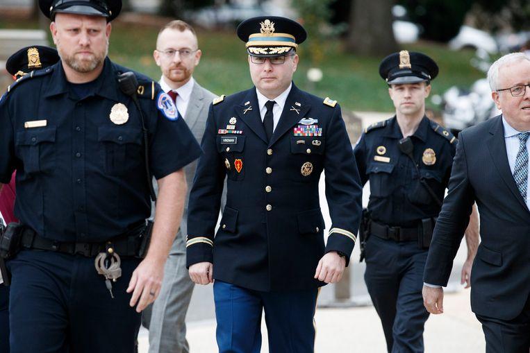 Alexander Vindman gisteren bij aankomst aan het Congres op Capitol Hill.