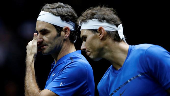 Federer et Nadal lors de la Laver Cup en septembre 2017.