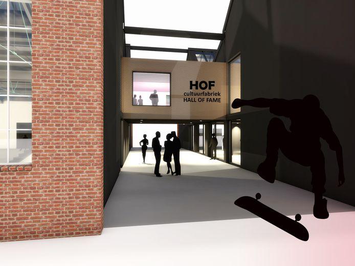 Impressie: de cultuurfabriek wordt dan een derde kleiner, de skatebaan veel groter.