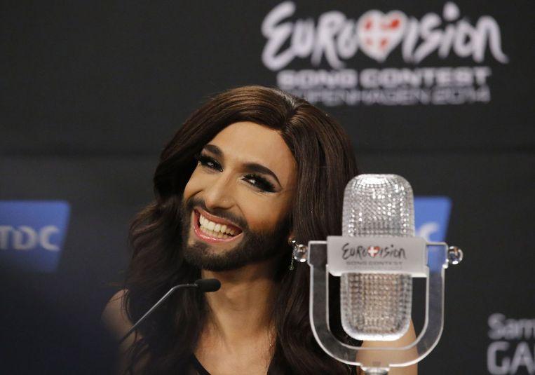 De Oostenrijkse travestiet Conchita Wurst na de winst in het Songfestival in Kopenhagen.