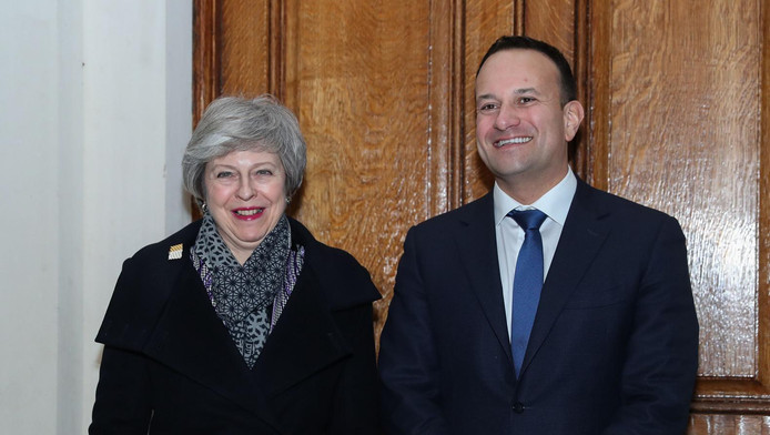 Theresa May, en visite à Dublin ce 8 février, où elle a retrouvé le premier ministre irlandais Leo Varadkar