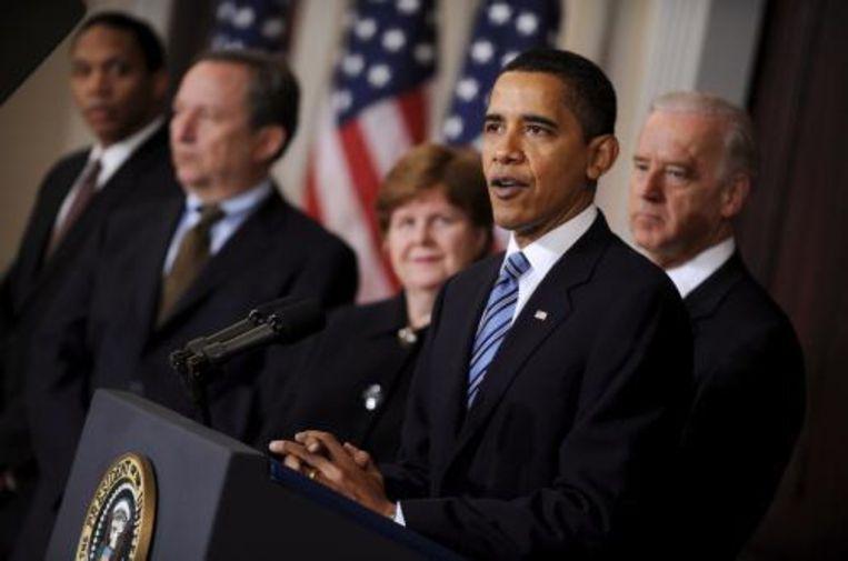 President Barack Obama van de Verenigde Staten wil 35.000 tot 50.000 ondersteunende troepen handhaven in Irak. Foto ANP Beeld