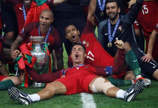 Cristiano Ronaldo na de gewonnen EK-finale in 2016.