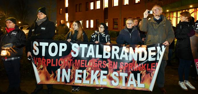 Protest tegen herbouw van de Knorhof in januari 2018.