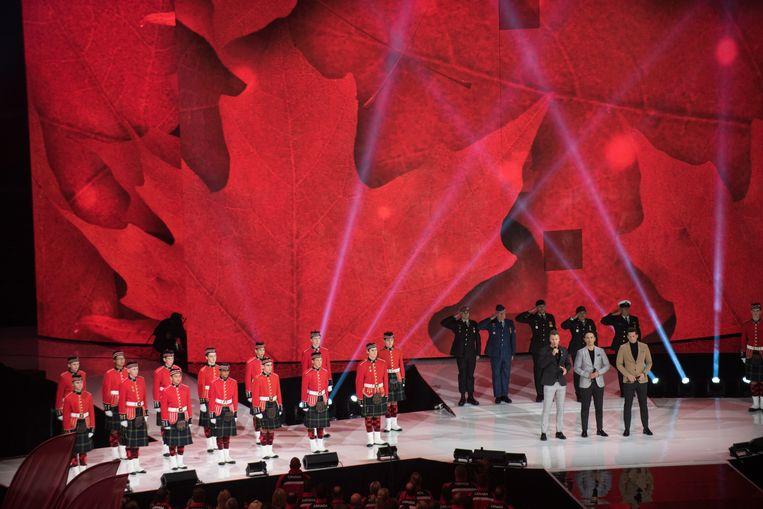 The Tenors zingen 'Oh Canada'. Beeld wikipedia