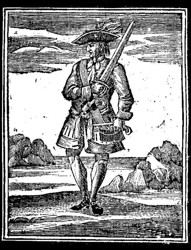 Een tekening van zeerover Jack - Calico Jack – Rackham.