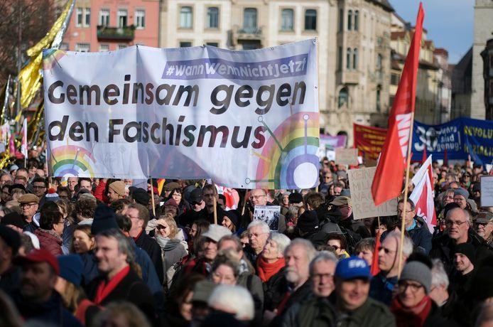 Manifestation à Erfurt, le 15 février 2020.
