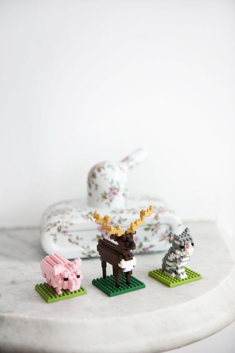 Het Lego-trio, Nanoblocks, is een favoriet van Alissia. 'Als het aan Jan lag was de hele inrichting wit en strak, zo vindt hij het jammer dat we de bakstenen muur niet mogen schilderen. Ik houd daarentegen enorm van bontere items.' Beeld Els Zweerink