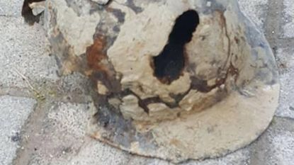 Helm uit Tweede Wereldoorlog opgegraven tijdens werken