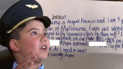 Jasper (9) stuurt schattige brief naar vliegmaatschappij met vraag om upgrade naar business en hij haalt slag thuis