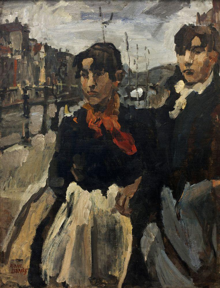 Twee meiden op de Lijnbaansgracht in Amsterdam (1894) van Isaac Israels Beeld Groninger Museum