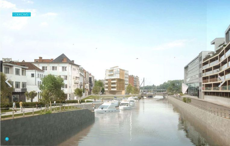 De nieuwe horecazaak zal links aan de toekomstige verlaagde Leieboorden, met ook een passantenhaven aan de Vismarkt, liggen.