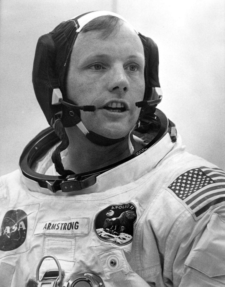 Neil Armstrong voorafgaand aan zijn missie naar de maan, 16 juli 1969 Beeld AFP