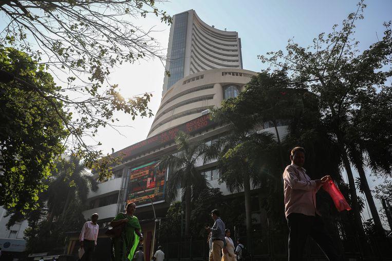 De Bombay Stock Exchange (BSE) in Mumbai, India. Beeld ter illustratie.
