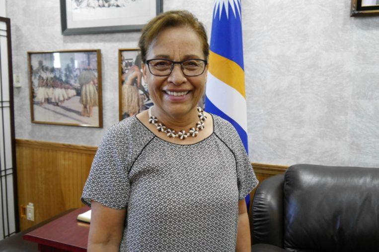 President Hilda Heine: 'Niemand wordt hier gespaard door het water' Beeld Anne-Gine Goemans