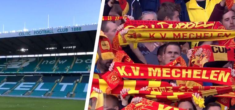 Een leeg Celtic Park en KVM-fans.