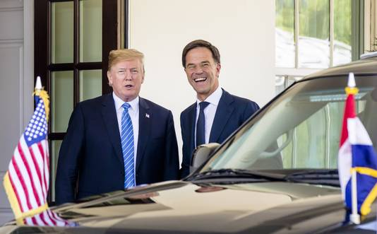 Premier Mark Rutte ontmoet de Amerikaanse president Donald Trump.