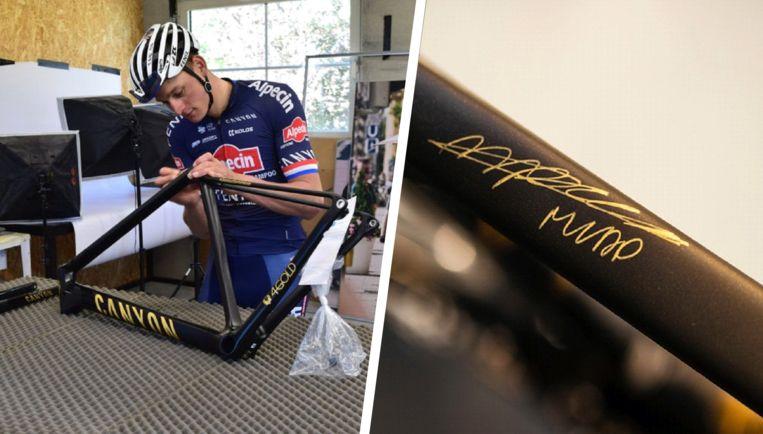 De unieke Canyon-fiets is voorzien van 24-karaats bladgoud en een handtekening van Van der Poel.
