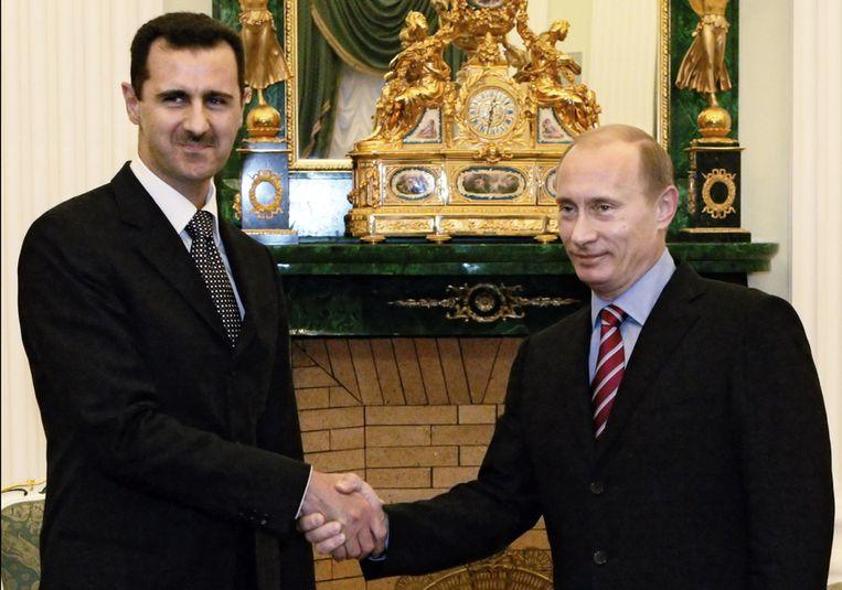 De Syrische president Assad met de Russische president Poetin in 2006. Beeld ap