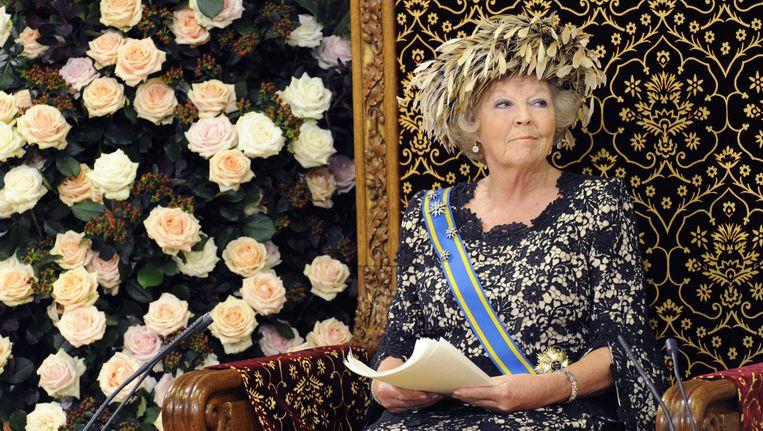 Koningin Beatrix tijdens de troonrede van 2012. Beeld ANP