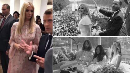 """Ivanka Trump beleeft """"ongemakkelijk moment"""" als wereldleiders haar negeren: parodieën niet bij te houden"""