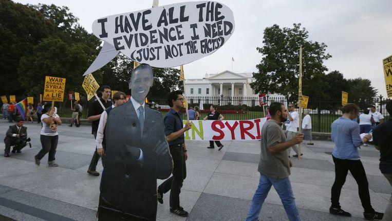 Protestactie in Washington DC tegen een mogelijk ingrijpen in Syrië. Beeld reuters