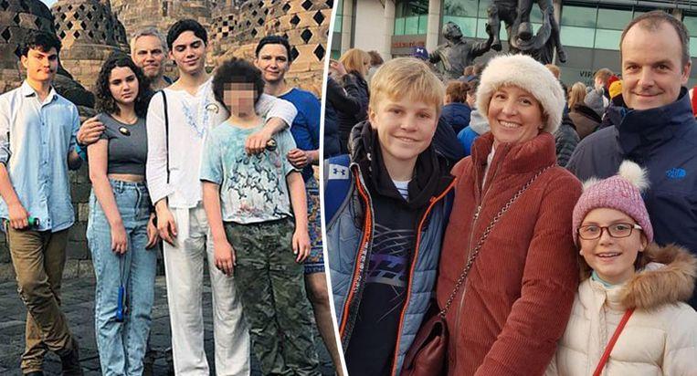 Links Matthew Linsey en zijn gezin. Zoon Daniel en dochter Amelie (rechts) overleefde de aanslagen niet. Rechts Ben Nicholson met zijn vrouw en twee kinderen Alex en Annabel. Alleen hij leeft nog.