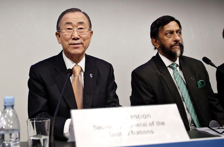De secretaris-generaal van de VN, Ban Ki-moon en de voorzitter van de IPCC, Rajendra K. Pachauri. Beeld ap