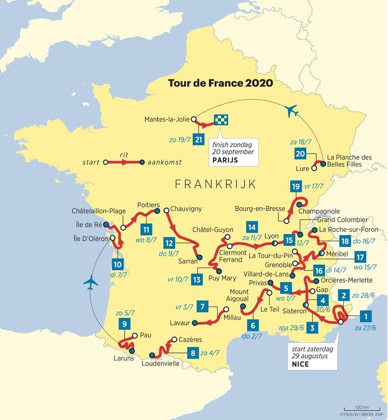 De routekaart van de Tour in 2020 Beeld Louman & Friso