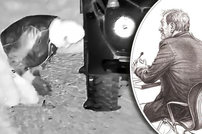 Een camera legt vast hoe iemand de banden van een auto lek steekt. Rudolf R. ontkent dat hij op de beelden te zien is. Rechts: rechtbanktekening uit 2010.