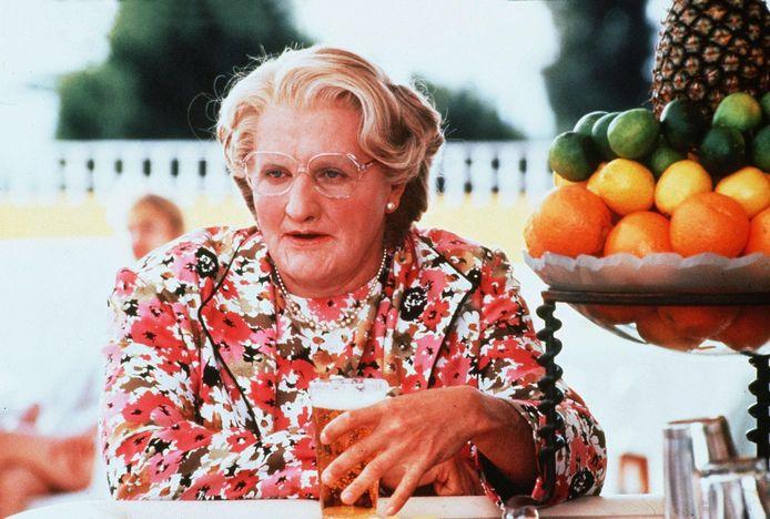 Robin Williams als de onvergetelijke Mrs. Doubtfire in de gelijknamige klassieker (1993).