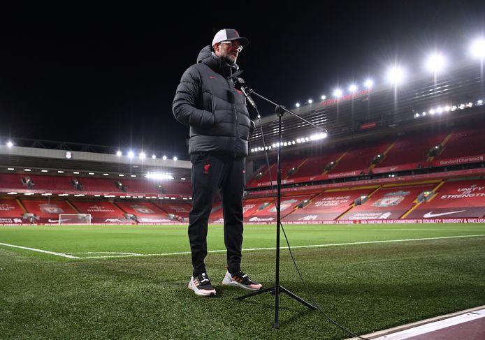 Jürgen Klopp staat te pers te woord na afloop van Liverpool - Leicester City.
