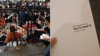 """""""Je zal het nodig hebben"""": Huawei deelt gratis powerbanks uit aan mensen die aanschuiven voor de nieuwste iPhone"""