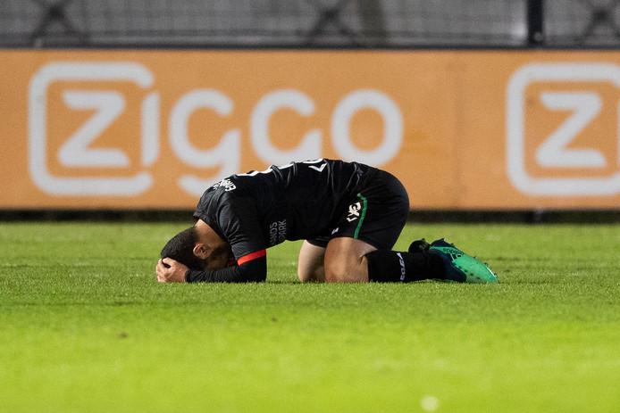 NEC-speler Anass Achahbar na een gemiste kans.