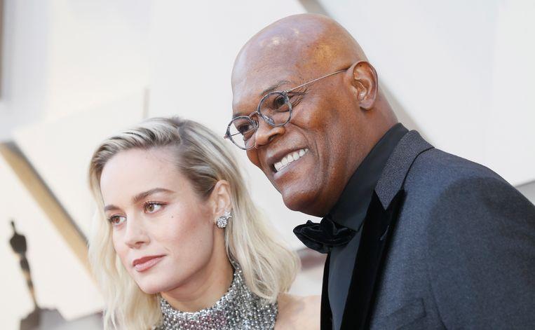 Brie Larson naast Samual L. Jackson.  Beeld EPA